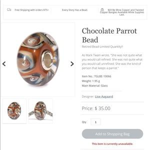 Authentic Chocolate Parrot Retired TrollBead .925